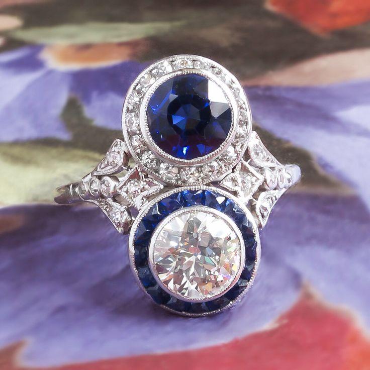 antique edwardian 1920u0027s old european cut diamond blue sapphire toi et moi engagement anniversary ring platinum