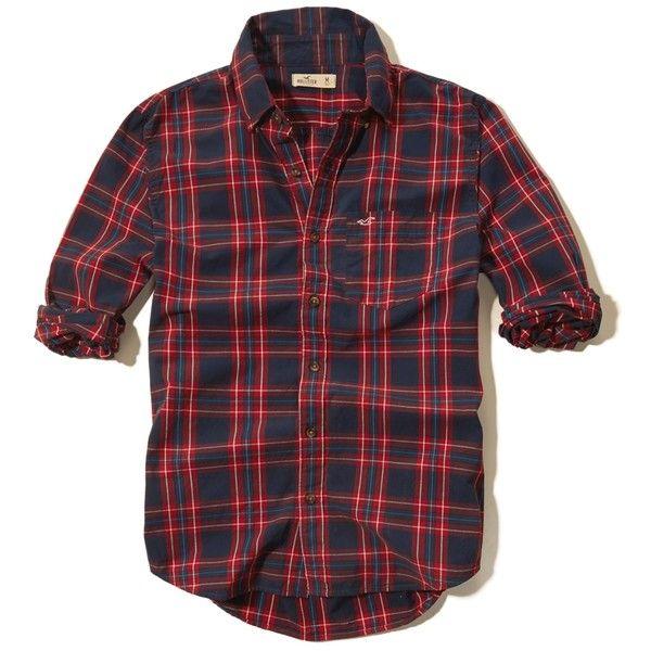 Guys Plaid Poplin Shirt ($22) ❤ liked on Polyvore featuring tops, red tartan shirt, shirts & tops, red shirt, poplin shirt and hollister co shirts