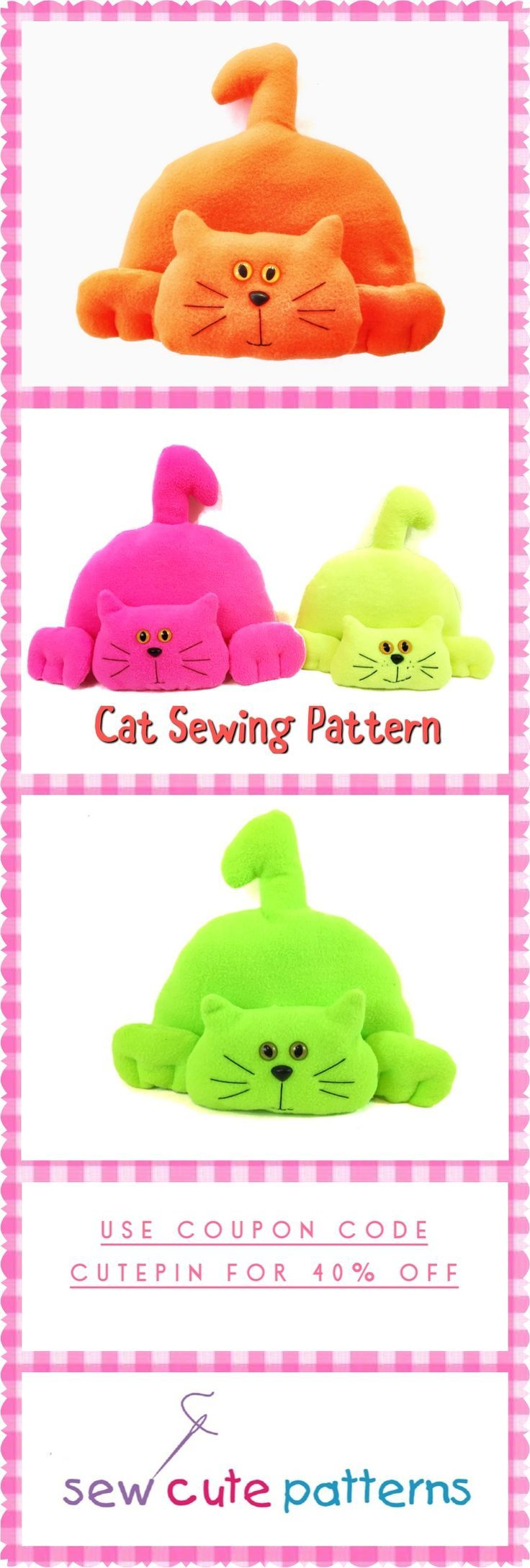 Cat Pattern / Soft Toy Patterns / Sewing Patterns