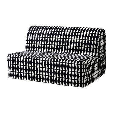 IKEA LYCKSELE LÖVÅS two-seat sofa-bed Cover made of durable cotton with a geometric pattern.
