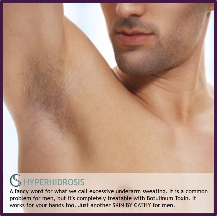 HYPERHIDROSIS: A fancy word for what we call excessive underarm sweating. It is a common problem for men, but it's completely treatable with Botulinum Toxin. It works for your hands too.
