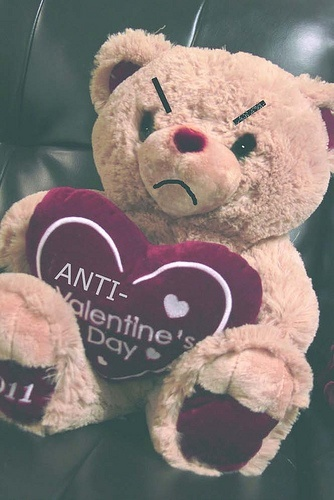 Anti-Valentine's Day Teddy Bear. OMG -- we could make angry stuffed animals to give to friends. Hahah :)