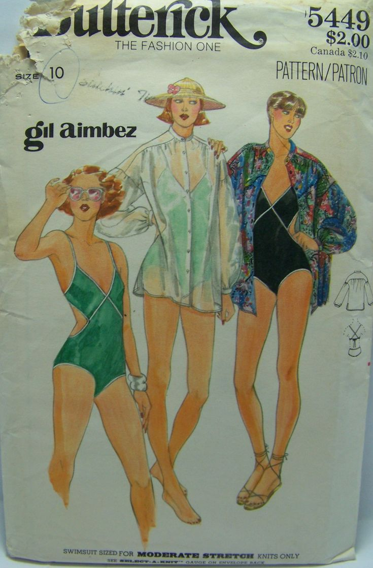 Butterick 5449 Gil Aimbez Swimsuit & Cover-Up