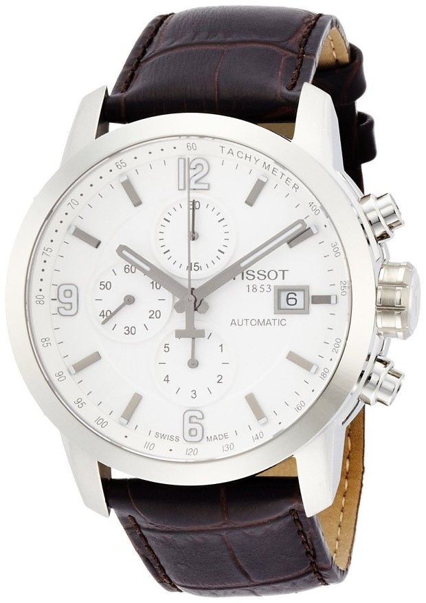 Men Watches : Tissot T-Sport PRC 200 Chronograph White Dial Brown Leather Mens Watch T0554271601700