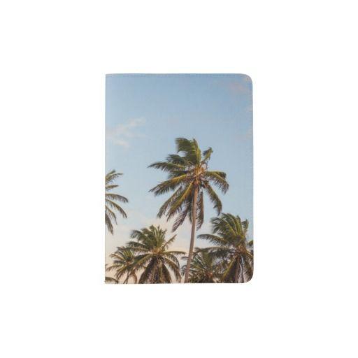 Palm trees passport holder. Vacation, holiday