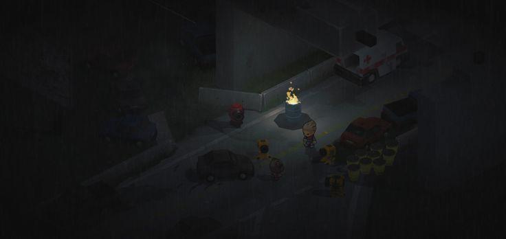 Pillow Zombies TD map design - night bridge isometric