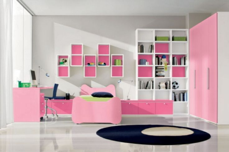 Chic Teen Bedroom Design for Girl with Cute Pink Bed Frame and Study Desk and Cabinet also Pink-White Wardrobe and Bookshelves and Gray Wall Paint Color and White Ceramic Floor Tile and Round Rug