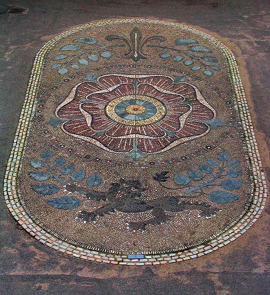 Lancaster rose Cobblestone mosaic; The family provided England with three kings: Henry IV , who ruled 1399–1413; Henry V, who ruled 1413–1422; and Henry VI, who ruled 1422–1461 and 1470–1471.