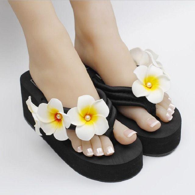 A nova verão pérola ovo flor de costura sapatos de praia cunhas plataforma durável flip flops