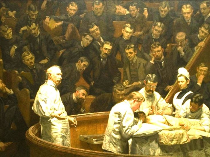 The Agnew Clinic ( 1889) by Thomas Eakins shows Dr. Agnew in perfomance of a partial mastectomy in a medical amphitheater. [See the photograph of Dr. Agnew that was used by Eakins in preparation for his painting: pinterest.com/pin/287386019944790035] -  Detail: pinterest.com/pin/287386019948317745