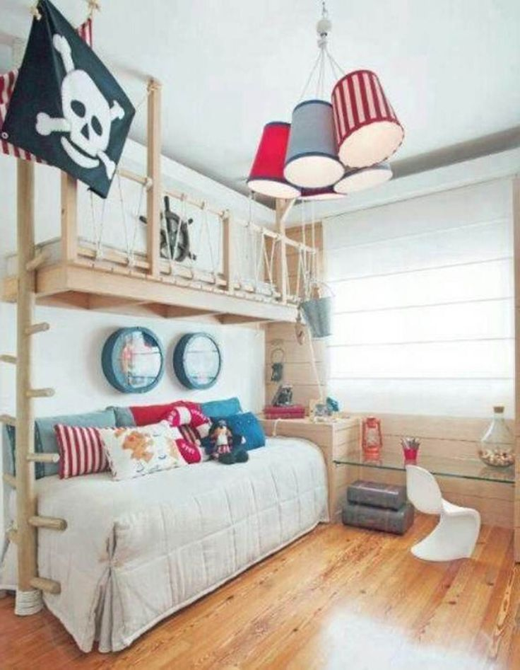awesome pirate little boy bedroom ideas...  Rena, attention to multi-lampshade lighting!!!