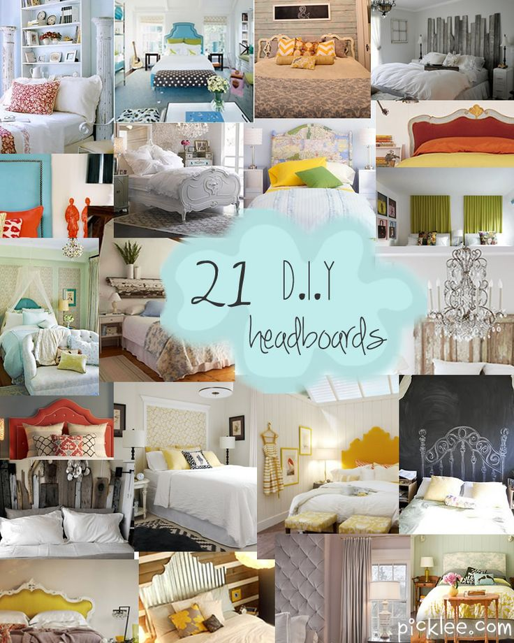 The DIY Headboard Extravaganza {Unique Headboard Inspiration} | Picklee.......May have just found some inspiration on how to use that cushion we made last yr for our repurposed wood bench. Now that we don't have a porch to put it on : (.