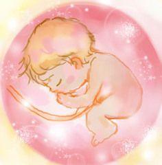 天使のような胎児のイラスト