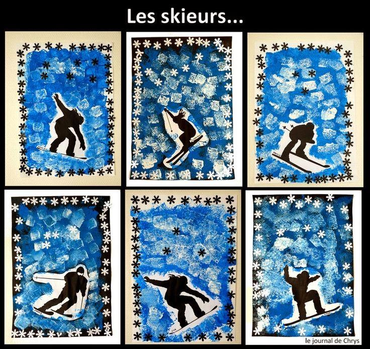 Les skieurs- peinture à la mousse et collage- Hiver