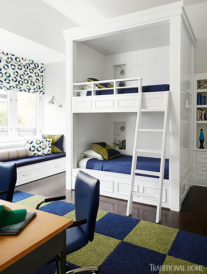 We Love That These Custom built Bunk Beds Have A Niche