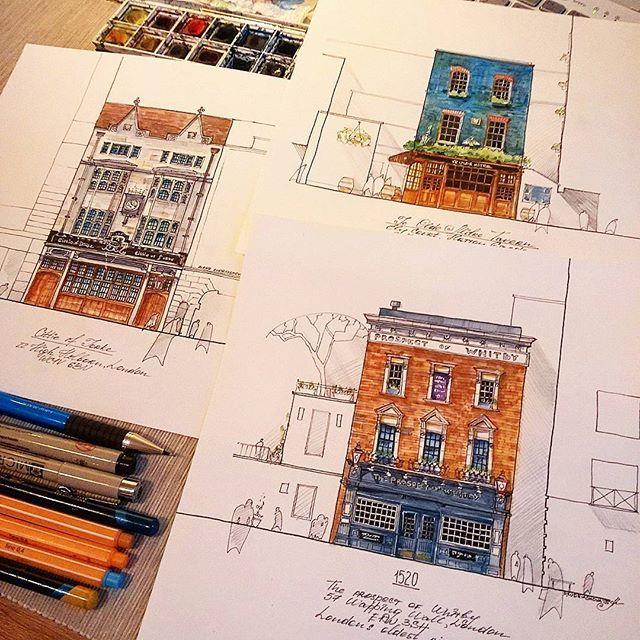 Old pubs of London . Старые Лондонские пабы . #London #pub #theprospectofwhitby #cittieofyorke #yeoldemitre #drawing #architecture #winsorandnewton #watercolor #micronpen #stabilo #pen #pentel #waterbrush