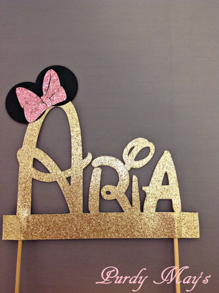 Minnie Mouse Cake Topper, Custom Disney Font Name Cake Topper, Minnie Mouse…