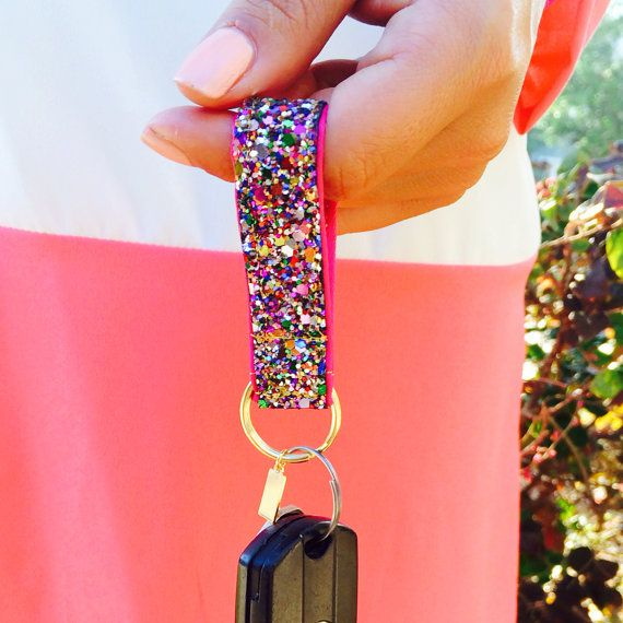 The Glitter Key fob by kaitlinkendalldesign on Etsy