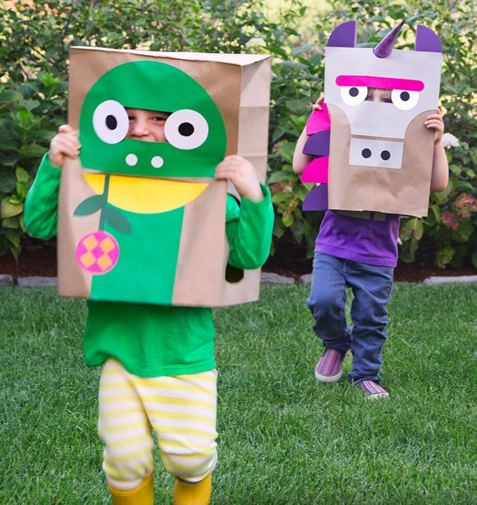 DIY Paper Bag Costumes from Wee Society: Diy Costumes, Diy'S, For Kids, Animal Halloween Costumes, Costume Ideas, Diy Halloween Costumes, Paper Bags Costumes, Diy Animal, Diy Paper