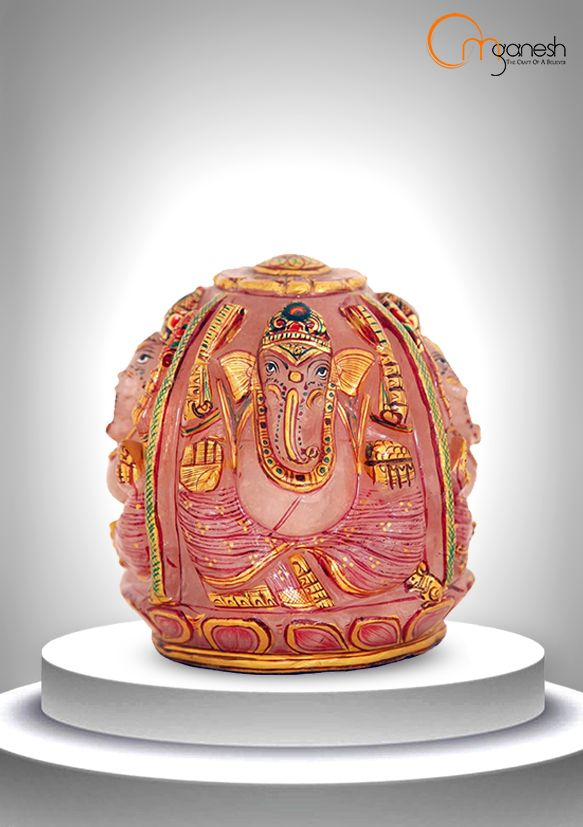 Reawakening the heart to its own innate love, a lovely Rose Quartz idol of Ganesha is a perfect fit to your home.