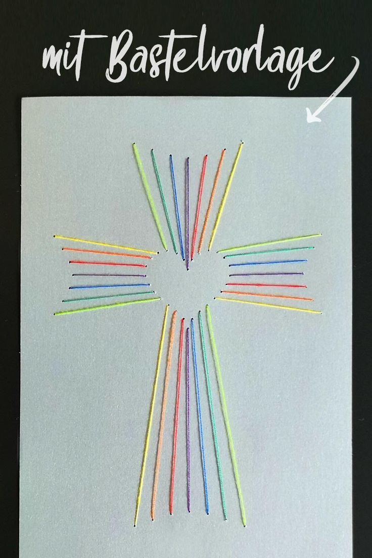 Fadengrafik Kreuz mit Herz [Bastelvorlage & Plotterfreebie