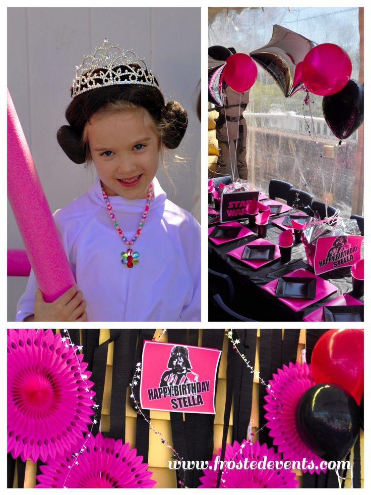 How funny that this little girl's name is Stella too!!  Princess Leia Star Wars Girls Party in Pink & Black www.frostedevents.com