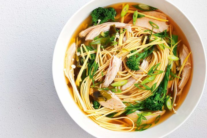 Chicken miso soup with ginger