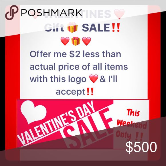 $2 Off ❤️Valentine's Day Sale❤️This weekend only‼️ All items marked with this ❤️ emoji are $2 off this weekend only‼️ Offer me $2 less than asking price & I'll accept! Even if bundled with another item but only one discount per (item) order. ❤️HAPPY VALENTINES DAY❤️ All Other