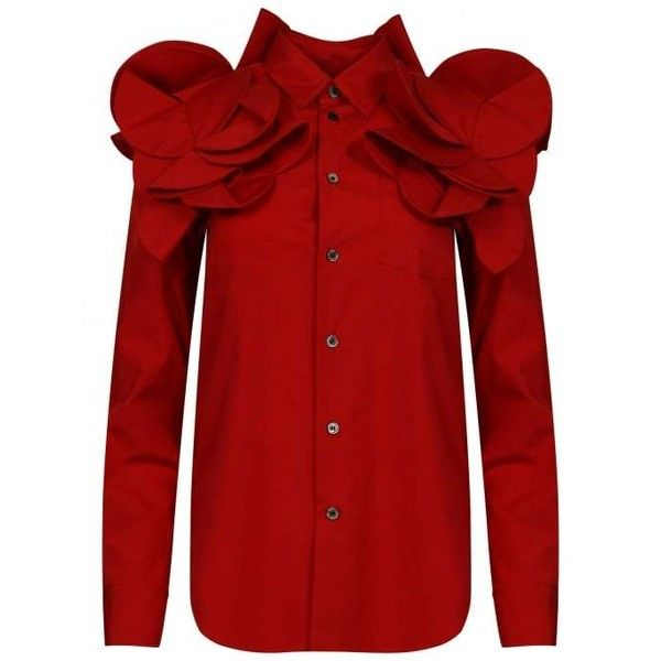 Comme Des Garcons Flower Blouse Button Shirt in Red | Hervia.com ($425) ❤ liked on Polyvore featuring tops, blouses, comme des garçons, button blouse, flower top, button top and red button shirt