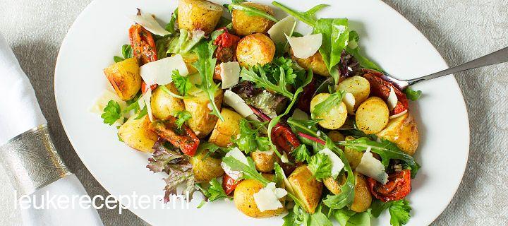 salade met geroosterde aardappels
