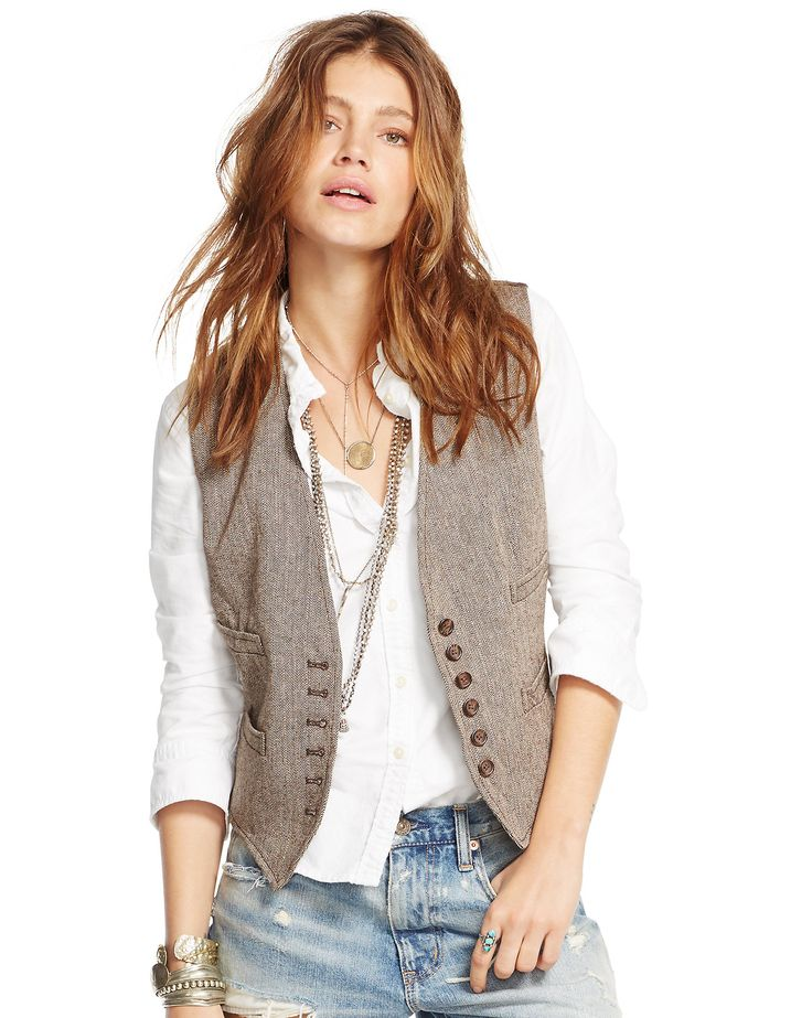 Denim & Supply - Veste en laine et lin à chevrons
