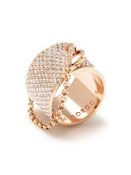 Eddie Borgo Rose Gold Pave White Diamond Encrusted Band Ring with Rose Gold Chain by Portero Luxury.