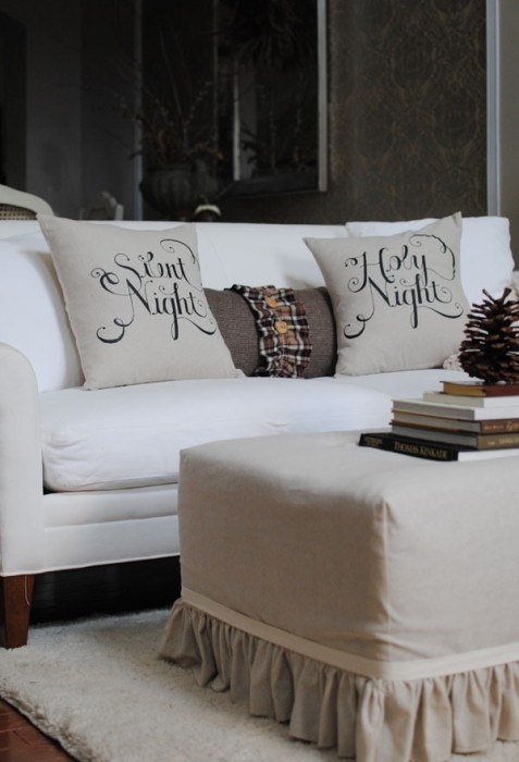 Christmas pillows - Silent Night and Holy Night were written in freehand first and then scanned in and burned onto a silk screen and then printed onto the pillows in this pic. However, you could use transfer paper, a stencil cut with a Cricut or even freehand it with fabric markers. Just love the look of this.