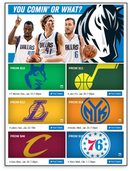 Client : The Dallas Mavericks  Country : US URL : https://www.mavs.com/ Category :Sports, NBA 目標:ダラス・マーベリックスは、毎月の電子メール・ニュースレターを活用して、今後のゲームのチケットを販売したいと考えました。  課題:チームは1人の女性のショーです。新しいゲームの情報を毎月手動でデザインし、毎月新しいテンプレートを作成していました。  解決策:Movable Inkを使用して、マーベリックスがこのニュースレターを完全に自動化し、今後のすべての展開がリアルタイムのゲームスケジュールで最新になっていることを確認したWeb作物に電力を供給します。