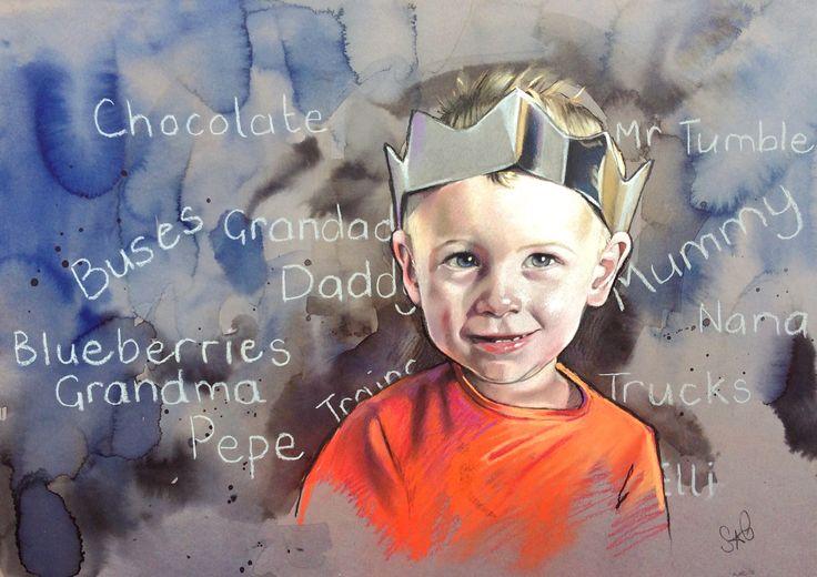 Portrait Of A Boy: pastels & inks on paper, 60x80cm (commission)