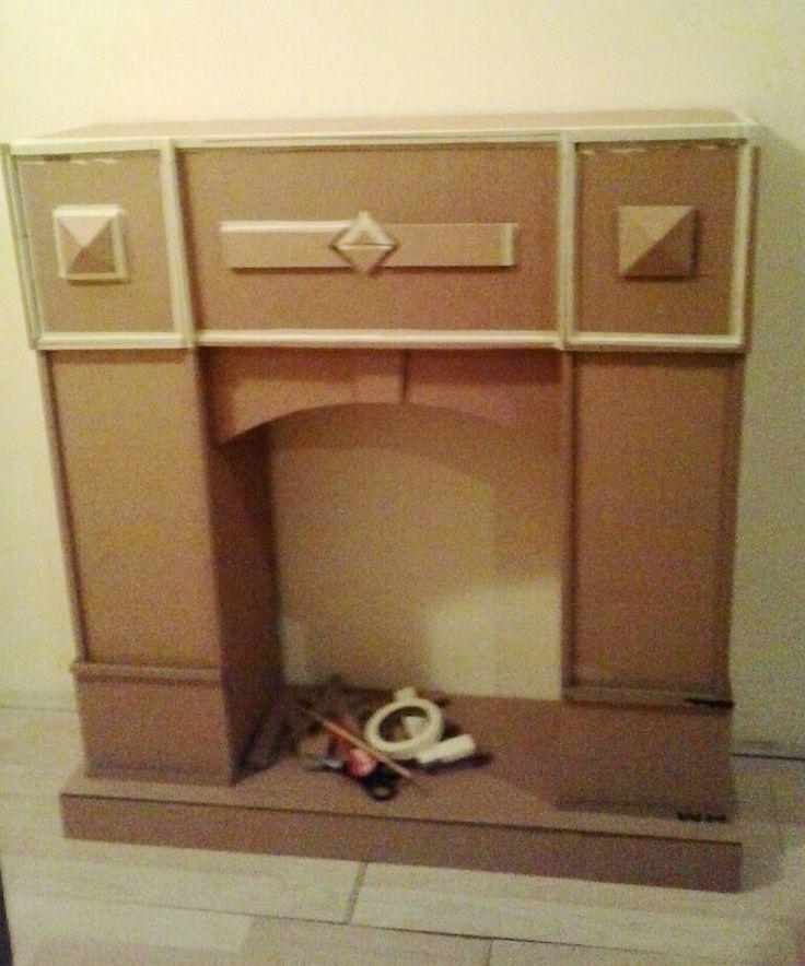 Cardboard fireplace..1. Part