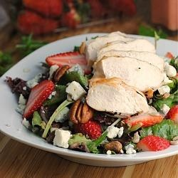 Strawberry Chicken Salad - just like my favorite salad from The Onion; only I'd use toasted sliced almonds instead of walnuts, plus poppyseed dressing