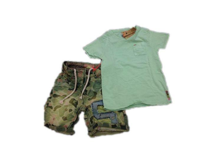 T-shirt verde acqua e pantalone camuflage tutto Schotch Shrunk