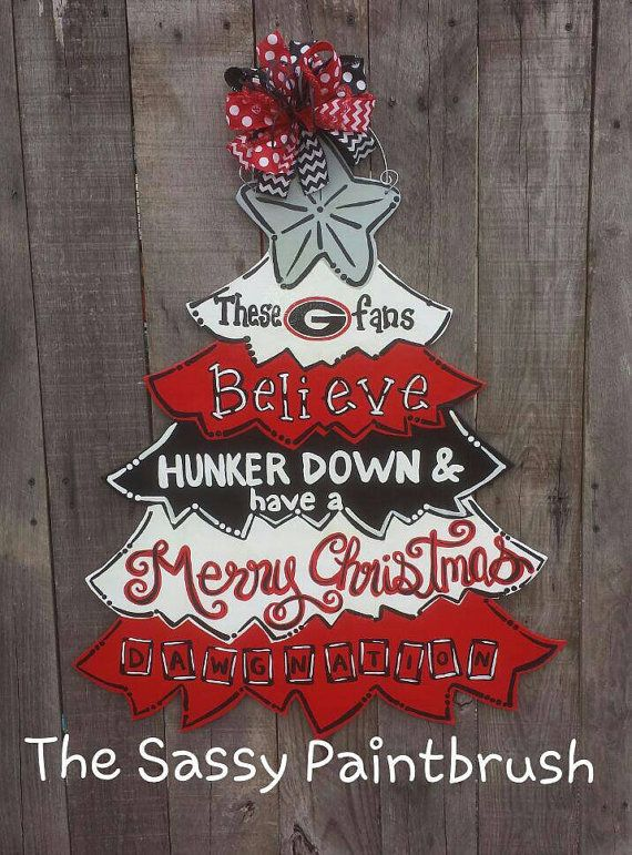 Georgia Bulldog Merry Christmas Door Hanger