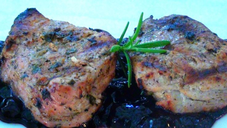Lyndsay The Kitchen Witch: Grilling: Herb Marinated Pork Tenderloin with Blueberry Compote