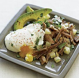 Pork and Potato Hash with Poached Eggs and Avocado-with sweet potatoes