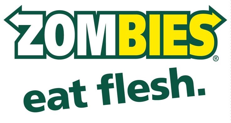 Zombies Eat Flesh Sticker - Funny Bumper Stickers, $3.50 (http://www.wholesaleprinters.com.au/zombies-eat-flesh-sticker-funny-bumper-stickers)