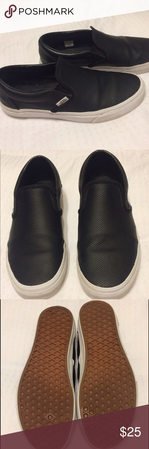 Black Leather VANS Slip On Sneakers Shoes Size 9 Black Perf Leather Slip On VANS Sneakers. Size 9 Women's or 7.5 Men's Vans Shoes Sneakers