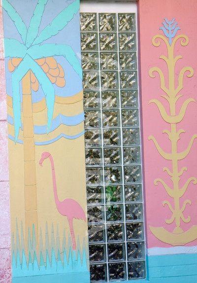 all pastels: pink + yellow + aqua + blue [Miami art deco architecture - Flamingo Plaza, 1051 Meridian Ave]
