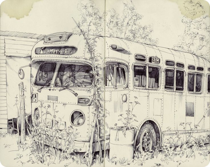 pat perry sketches | This drawing is of an abandoned bus that is broken down with grass growing around it. What interested me about this drawing is the use of light, thin lines to denote texture, and working them up to build shadows.