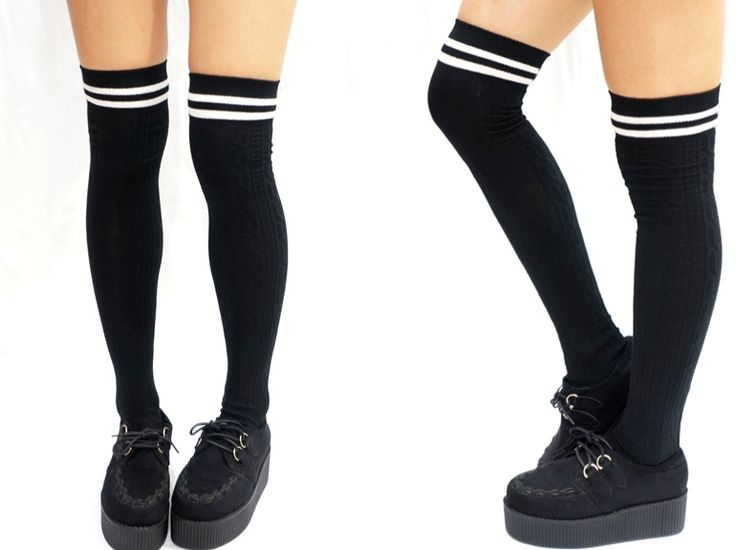 JK Stripe Knit Over the Knee Socks - Black