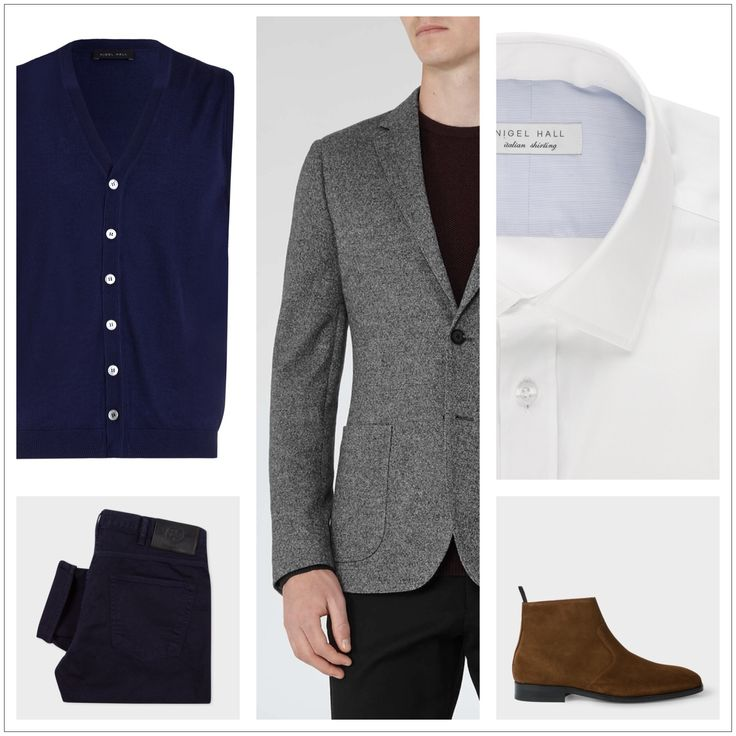 Client brief: Updating wardrobe for the winter months focusing on 'casual friday' workwear outfits, evening occasion outfits and casual off duty looks. Waistcoat & shirt: Nigel Hall Blazer: Reiss Boots & jeans: Paul Smith