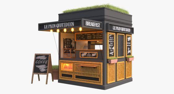 3d model coffee kiosk | Desain. Kedai kopi. Desain restoran