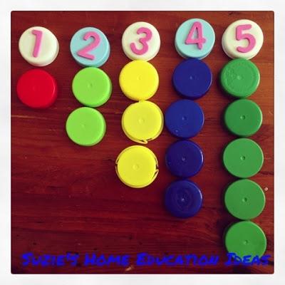Suzie's Home Education Ideas: Bottle Top Maths