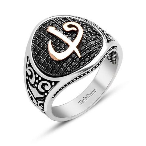 Men's Silver Islamic Ring Elif and Waw with Zirconium – Modefa USA